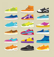 sneaker sport shoes set vector image vector image