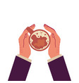 upper view on hands holding cup coffee cartoon vector image
