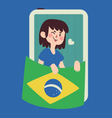 Winking Girl Holding a Brazilian Flag vector image vector image