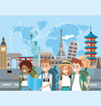 women and men with map to travel around the world vector image vector image