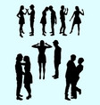 young couple silhouette vector image vector image