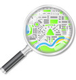 Magnifying glass with map vector image