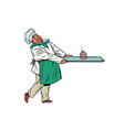 african chef cook brings a tray of dessert cupcake vector image