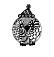 Owl in Christmas hat isolated black and white vector image