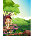 A girl resting above the rocks in the forest vector image vector image