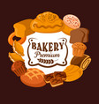 bakery bread cupcakes toast cookies and bagel vector image