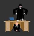 businessman scared under table of grim reaper vector image vector image
