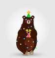 cartoon bear in funny hat and garland holding gift vector image