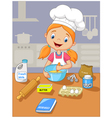 Cartoon little girl holding batter cake vector image vector image
