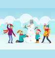 children making snowman two vector image vector image