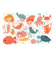 collection cute mermaids and sea animals vector image
