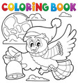 coloring book christmas owl theme 1 vector image vector image