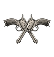 Crossed pistols Vintage gun pistol vector image vector image