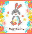 easter bunny happy card all objects vector image vector image