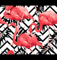 flamingo bird and zigzag seamless pattern vector image vector image