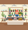 flower shop interior green natural decorations vector image