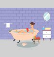 girl lies in bathroom and surfs internet browsing vector image