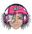 grinning dj girl in pink headphones vector image vector image
