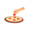 hand cookong pizza with tomatoes and mushrooms vector image vector image