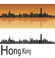 Hong Kong skyline in orange background vector image vector image