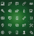 icons in chalk on blackboard sketches for the vector image vector image