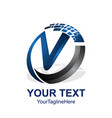 initial letter v logo template colored blue dark vector image