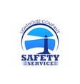 lighthouse icon for safety marine service vector image vector image