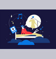 listening to music - flat design style colorful vector image vector image
