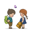 Little boy and girl with backpacks vector image