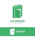 logo combination a book and door vector image vector image
