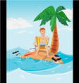 Man relax time in island vector image vector image