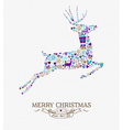 Merry christmas reindeer vintage retro elements vector image vector image
