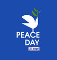 peace day card with white pigeon with olive branch vector image vector image