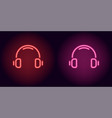 red and pink neon headphones vector image