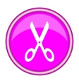 scissors round glossy pink silver metallic icon vector image