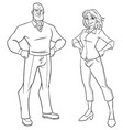 senior couple line art vector image