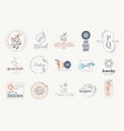 set elegant labels and badges for beauty vector image