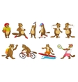 set of cute beavers sport vector image vector image
