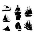 silhouettes of historic sailing ships-2 vector image vector image