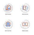 sketching education motivation freelance set of 4 vector image