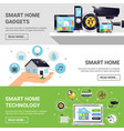smart home horizontal banner set vector image vector image