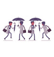 stylish young black man with umbrella running vector image