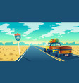 tourist concept - desert with jeep trailer vector image vector image