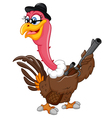turkey holding gun cartoon vector image