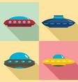 ufo icon set flat style vector image vector image