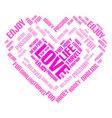 valentine day word cloud collage heart concept vector image