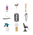 various barbershop equipment set vector image