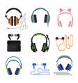 various types earphones set headphones vector image