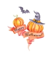 Watercolor pumpkins with leaves and ribbon vector image