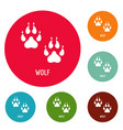 wolf step icons circle set vector image vector image